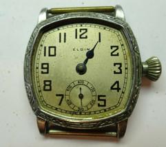 Elgin ART DECO ORNATE BEZEL CASE WATCH RUNS FOR restoration or TRENCH PA... - $169.32