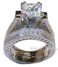 5ct Vintage Style Cubic Zirconia Cz Wedding Ring Set Solid 925 Sterling Silver - $59.99