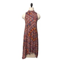 Maeve Anthropologie Dress Sleeveless Shark Bite Hem tribal mock neck sz ... - $24.74
