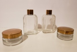 Vintage Glass Travel Toiletry Containers Set of 4 - Perfume Lotion Eco F... - $15.84