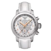 NWT Tissot T055.217.16.032.01 Womens' PRS 200 White Leather Chronograph ... - $339.00