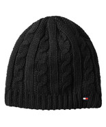 NEW MENS TOMMY HILFIGER CABLE KNIT FLEECE LINED BLACK BEANIE HAT - $22.76
