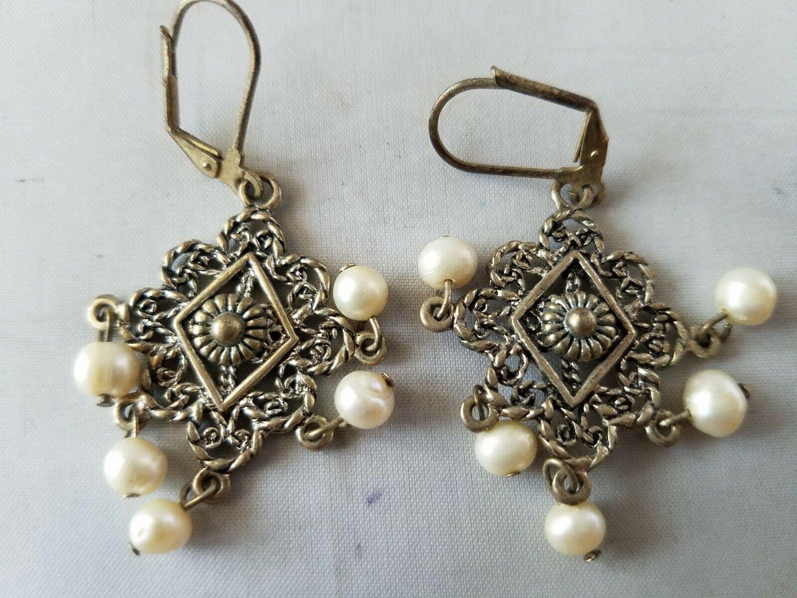 Fashion Vintage Jewelry Set Dangle Brooch Pin & Matching Earrings