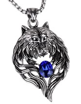 """Jewelry Stainless Steel Tribal Wolf Biker Pendant Necklace , 20"""" 24"""" Link  - $51.39"""