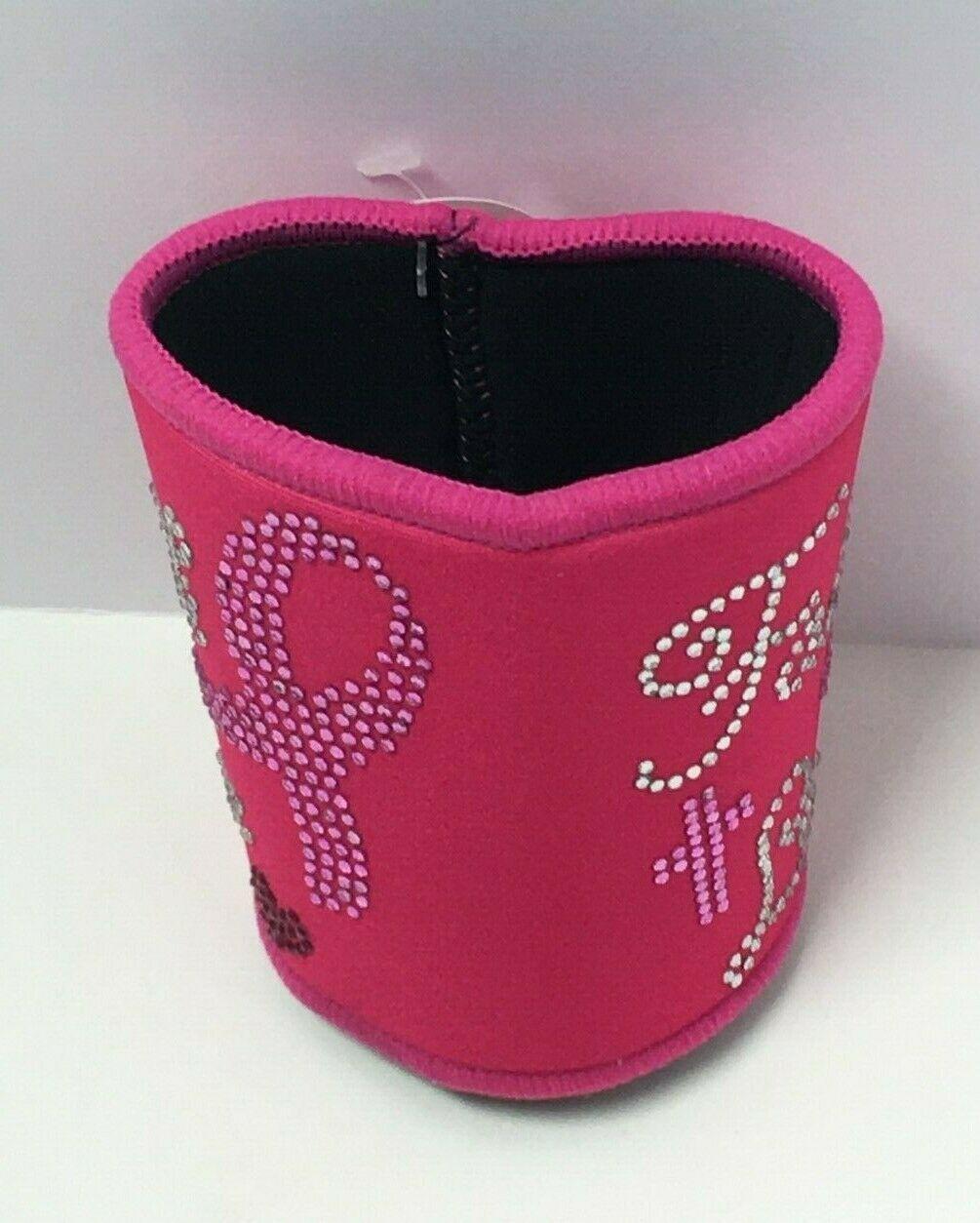"Novelty Breast Cancer Awareness Pink Neoprene Can Insulator ""Faith Love"""