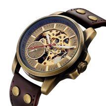 SHENHUA 2018 Vintage Bronze Watch Steampunk Skeleton Mechanical Male Clock Autom image 4