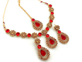 Fashion Jewelry Set Indian Red LCT Gold Plated Fashion Jewelry Necklace Set - $16.62