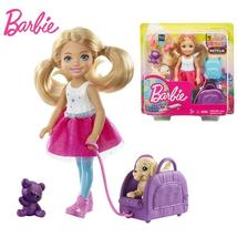 Original Barbie Travel Chelsea Dolls with Puppy Accessories For Baby Girls  - $30.70+