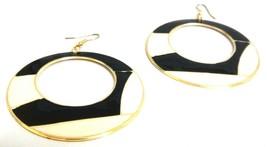 BLACK WHOOPTY HOOP Earrings Drop Long Dangling Hook Classy Fashion Women P4 - $6.89