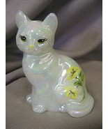 Fenton Sitting Cat Hand Painted Mother of Pearl Yellow Flowers Solid Glass - $40.19