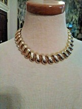 VINTAGE GOLDEN NECKLACE SQUIGGLY TEXTURED LINKS + DANGLE EARRINGS + BRAC... - $70.00