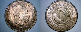 1964 Sierra Leone 1/2 Half Cent World Coin - $2.99