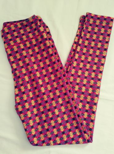 31d342f3761339 12. 12. Previous. Lularoe orange, green,black,and purple geometric pattern leggings  size ...
