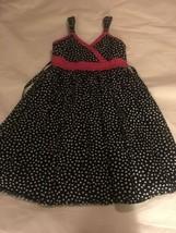 Girls Size 10 Emily West Black White Polka Dot Sundress Sun Dress Pink A... - $20.00