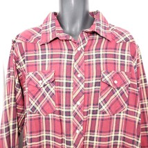 Vintage Wrangler L Red Maroon Plaid Western Rodeo Shirt Pearl Snap Flannel - $29.66