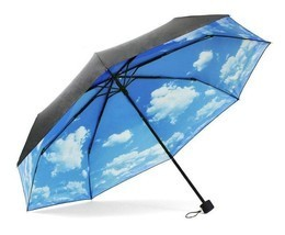 ColorDrip Unisex Adult's Blue Sky White Clouds Folding Travel Umbrella - £20.30 GBP