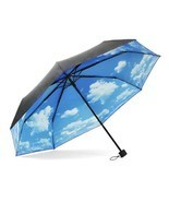 ColorDrip Unisex Adult's Blue Sky White Clouds Folding Travel Umbrella - $32.82 CAD