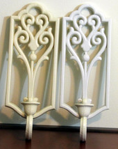 Vintage Homco White Plastic Wall Mount Candle Holders Sconce Pair Set Or... - $11.99