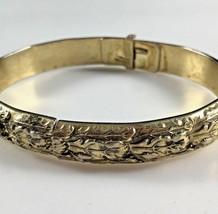 """Vintage Whiting & Davis Bracelet Ornate Gold Tone Signed Hinged 7½"""" Jewe... - $39.59"""