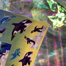 VINTAGE Lisa Frank FULL EXCELLENT Sticker Sheet 90s ORCAS WHALES Sea Ocean S269 image 3