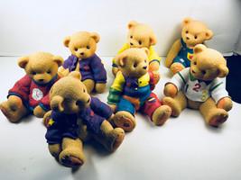 "Childrens Plastic Teddy BearPiggy Banks Set of 7  Coin Change  4.75"" x 4"" - $18.81"