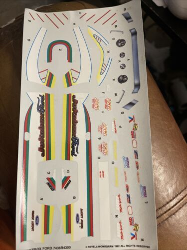 Decals for the Revell Jukebox Ford drag car, nice, uncut sheet - $7.92