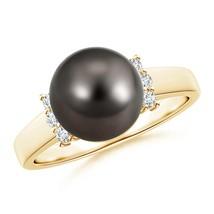 Cultured Tahitian Black Pearl Diamond Collar Ring in Silver or Gold - $598.88+