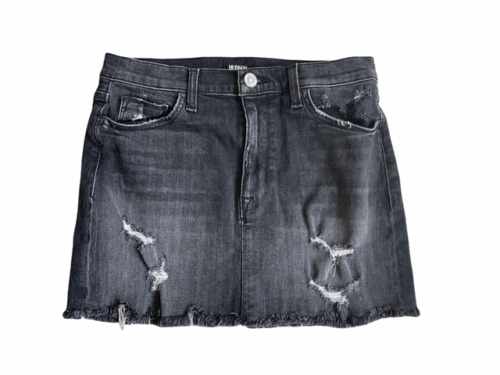 Faded Black/Gray Distressed Women Hudson Denim Mini Short Jean Skirt Sz 25