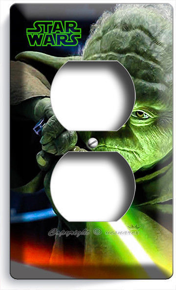 JEDI MASTER YODA SWORD STAR WARS OUTLET WALL PLATE COVER BEDROOM ROOM HOME DECOR