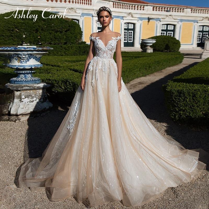 Vintage Lace Cap Sleeves Tulle Princess Wedding Dresses: Ashley Carol Sexy V-neck Cap Sleeve Lace Tulle Wedding