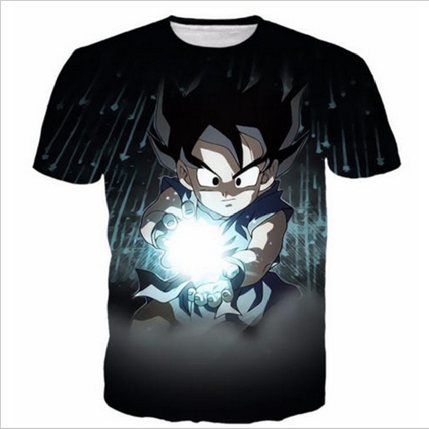 Fashion Casual Hip Hop Womens/Mens t shirt Black Kid Goku Short sleeves 3D Print