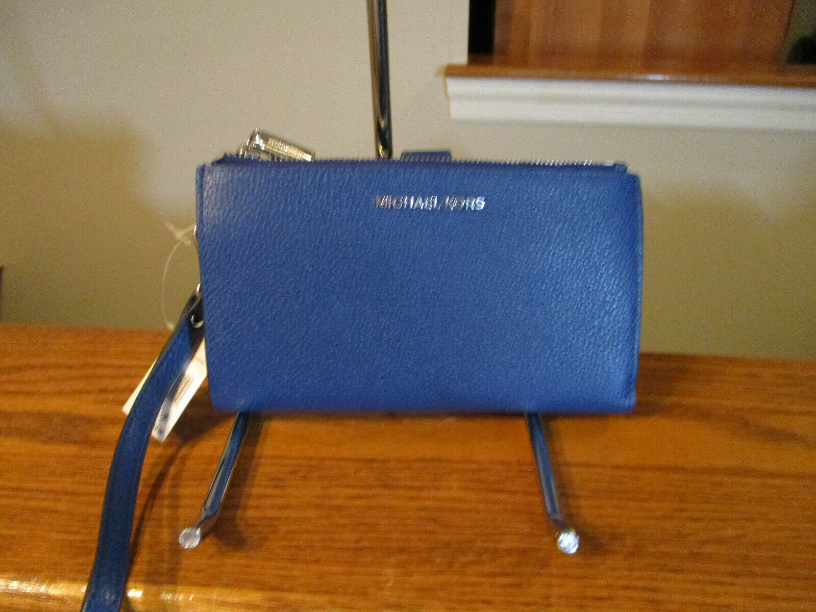 Primary image for Authentic Michael Kors Double Zip Wristlet Wallet Leather Sapphire New W/Tag