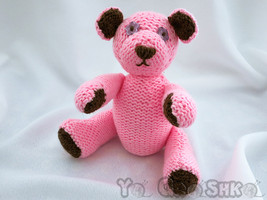 Handmade  teddy bear - soft toy animal - baby shower gift - knitted toy  - $35.00