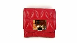 Michael Kors Wallet Vivianne Leather Trifold Coin Case Wallet (Cherry) B... - $89.09
