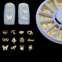 Gam-Belle® 120 pcs/lot Mix 3D Gold Metal Slice Nail Art Wheel Love Shape... - $4.14