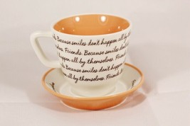 Hallmark Friends Cup & Saucer Set Because Smiles Don't Happen All By The... - $20.08