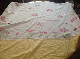 Pottery Barn Kids Fabric Shower Curtain Pink Yellow Embroidered Flower B... - $38.69