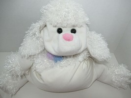 Jay At Play Microbead plush white poodle pillow green collar USED puppy dog - $19.79