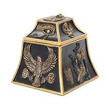 3.5 Inch Egyptian Hieroglyphics Geometric Jewelry/Trinket Box Figurine - $19.59