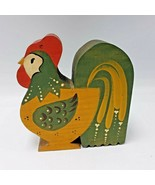 "Hand Painted Wood Rooster Figure Pennsylvania Dutch Farmhouse 6"" - $23.75"