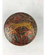 Vintage Interpur Brass Enamel Oryx Trinket Accessory Box Lidded Made in ... - $19.79