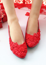 Blush Lace Wedding shoes Flats Red Flowers Bridal Shoes flat UK Size 2,3,4,7,8,9 - $29.99