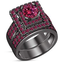 Womens Bridal Ring Set Round Pink Sapphire Black Gold Finish Solid 925 ... - $118.99