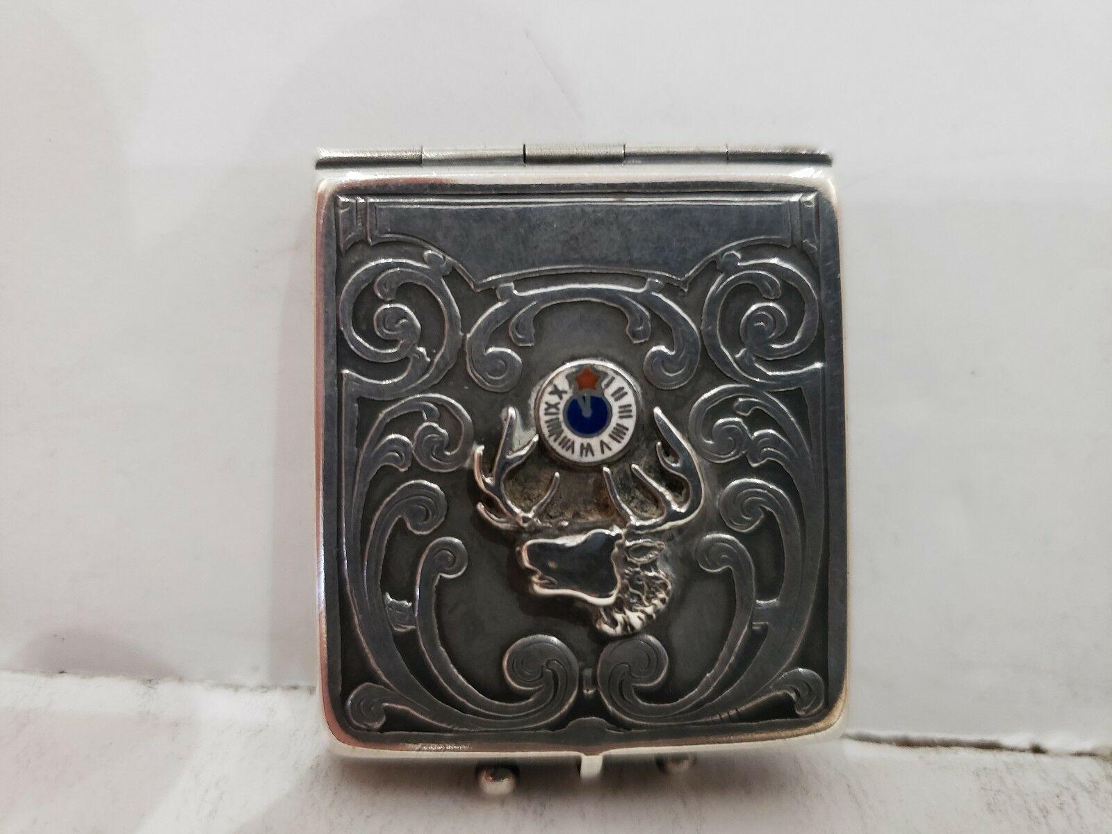 Antique Fraternal Elks BPOE Sterling Silver Card Case / Enameled Plague -1900's image 3