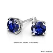 1.50 Carat Round Genuine Blue Sapphire Earrings in 14k Gold  - $599.00