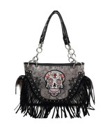 Black Sugar Skull With Fringe Concealed Gun Carrier Western Handbag - $44.54