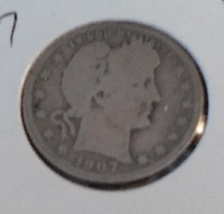 1907 O BARBER SILVER QUARTER - SCARCE NEW ORLEANS MINT - $9.99