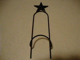 Country new black wrought iron STAR single wall plate rack w/ holds 1 pl... - $15.09