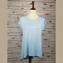 New AZULES sz S women baby blue asymmetric hem short sleeves tunic top - $9.89
