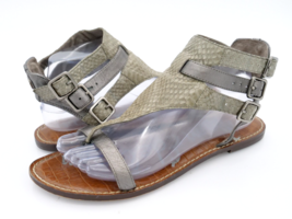 Sam Edelman Womens 9M Gray Grenna Leather Buckle Snake Print Gladiator S... - $29.99